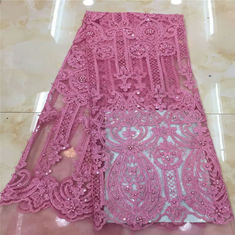 HFX High Quality Pink Sequin Embroidered Dress Lace Nigeria Party Fashion Beaded French Lace African Lace Fabric X1020-1