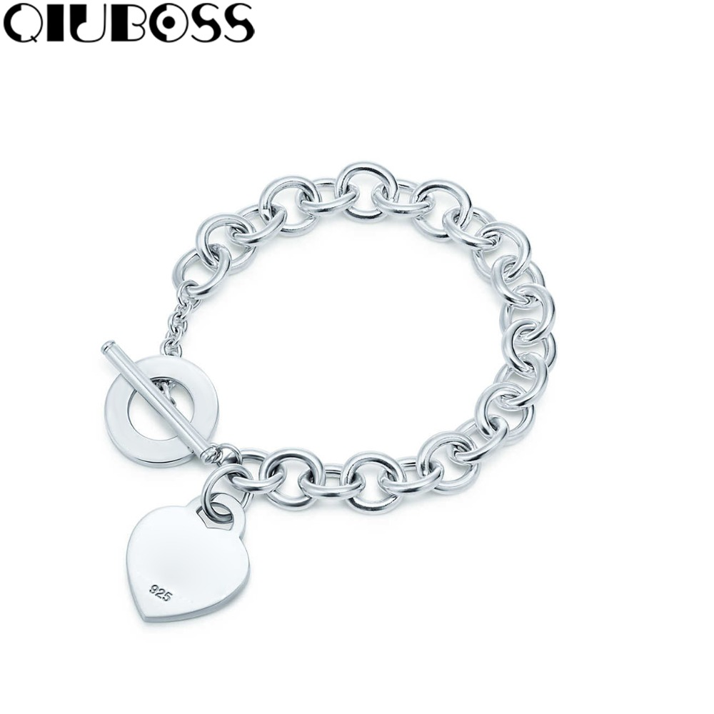 QIUBOSS 2018 New TIF Bracelet Heart Tag Toggle Heart Shaped Pin Buckle Fashion Lady 925 Sterling Silver Bracelet personalized heart shaped bracelet