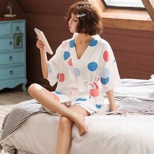 Image 3 - BZELฤดูร้อนขายร้อนชุดนอนชุดสำหรับMujer Vคอแขนสั้นชุดนอนผ้าฝ้ายKawaiiผู้หญิงNightyการ์ตูนสีDotชุดชั้นใน