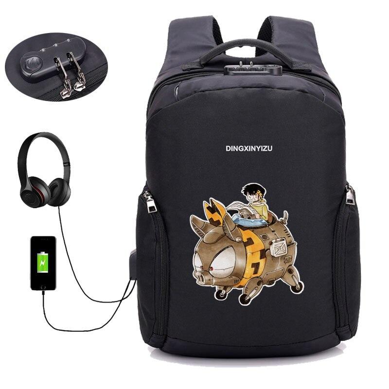 Japon anime Ranma sac à dos USB chargeur sac à dos étudiant livre sac adolescents sac à dos pour ordinateur portable Anti-vol sac à dos