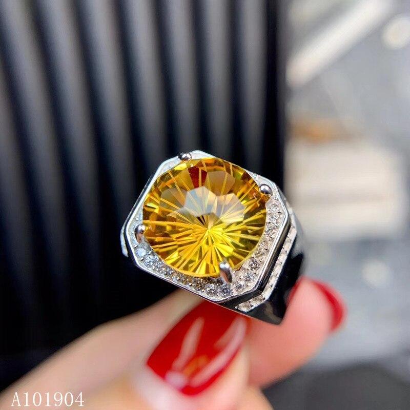 KJJEAXCMY boutique bijoux 925 argent sterling incrusté citrine gem hommes de luxe anneau soutien détection