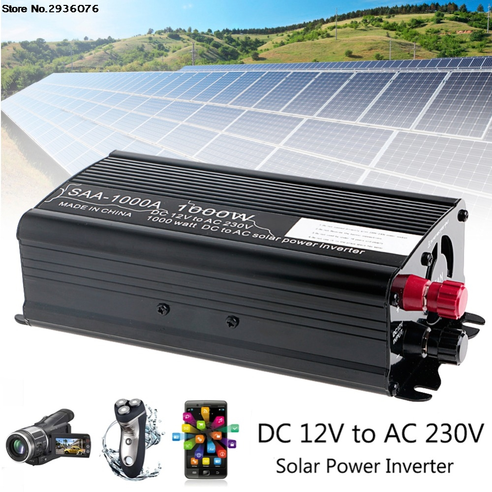 2000W Solar Power Inverter Peak 12V DC To AC 230V Modified Sine Wave Converter Aluminum solar power inverter 600w peak 12v dc to 230v ac modified sine wave converter