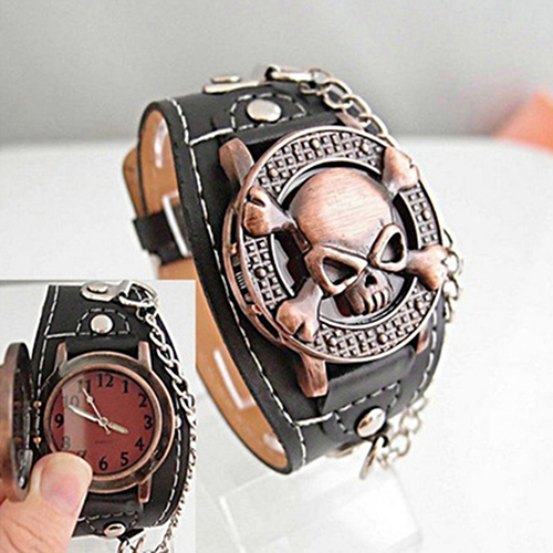 Women Men's Watch Unisex Steampunk Skull Cover Wristbands Gothic Punk Biker Quartz Wrist Watch punk rock chain skull women men bracelet cuff gothic wrist watch 928