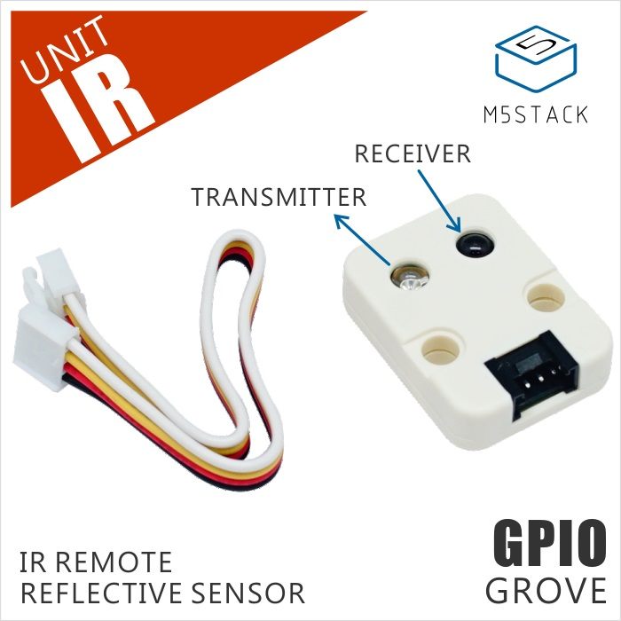 M5Stack Official Mini Infrared Unit IR Remote Reflective Sensor with Receiver and Transmitter GPIO GROVE ConnectorM5Stack Official Mini Infrared Unit IR Remote Reflective Sensor with Receiver and Transmitter GPIO GROVE Connector