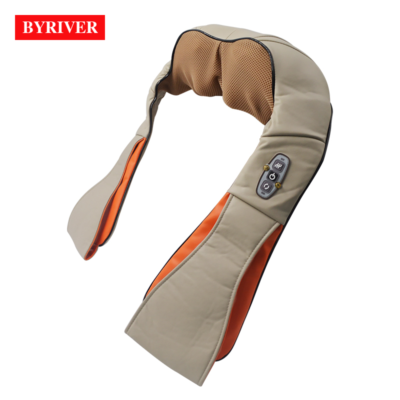 BYRIVER Shiatsu Neck Shoulder Massager Infrared Heating Kneading Back Leg Massage Device Relief Pain Promote Blood Circulation far infrared heat foot massager vibrating massage blood circulation pain relief