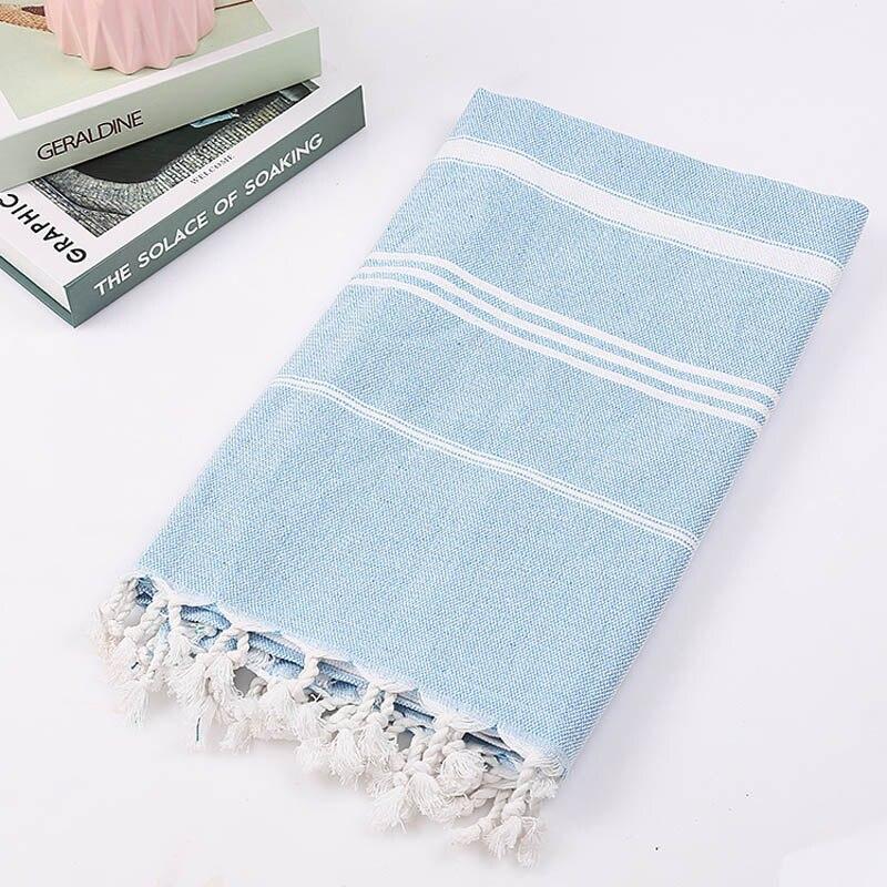 Striped Cotton Turkish Bath Towel With Tassels Thin Travel