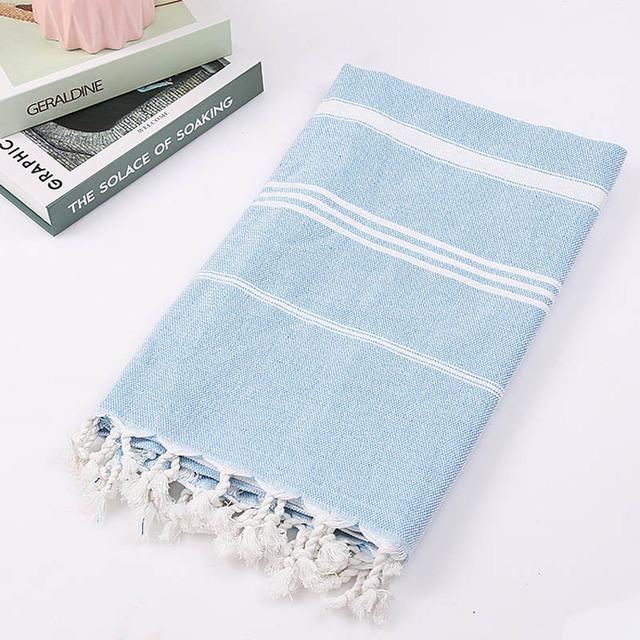 Striped Cotton Turkish Towel with Tassels