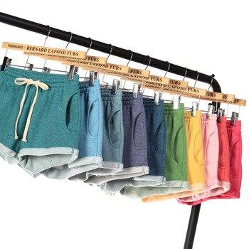 Cotton Shorts Women Summer Black Plus Size Short Femme Sport Lace Up Elastic High Waist Loose Wide Legs Casual Home Comfy