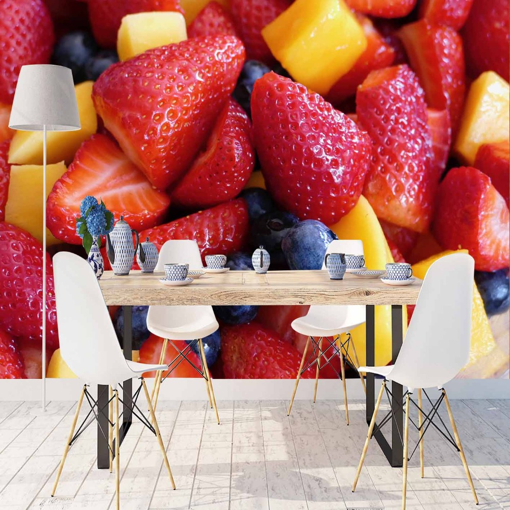 Else Red Strawberry Yellow Pineapple Blue Plum 3d Print Photo Cleanable Fabric Mural Home Decor Kitchen Background Wallpaper