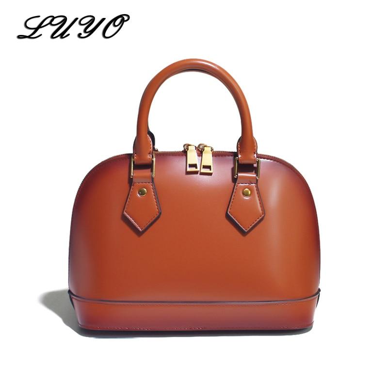 LUYO Fashion Shell Genuine Leather Ladies Handbag Luxury Handbags Women Bags Designer Famous Brand Top-handle Bag Suede Female