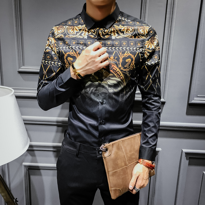 Mens Gold Shirts Social Club Shirt 2018 Autumn Luxury Baroque Shirts Camisa Slim Fit Black Gold Mens Designer Shirts 3XL