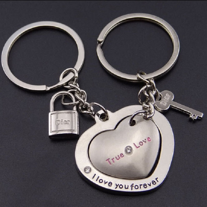 1 Pair Love Heart Keyring Couple Keychain Key Ring Key Chain Keyfob Lover For women lady
