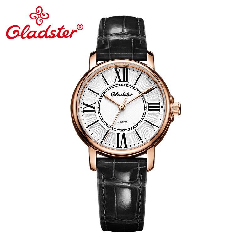 Gladster Japan MIYOTA 2035 Simple Black Leather Women Watch Waterproof Golden Female Quartz Wristwatch Casual Charm Lady Clocks