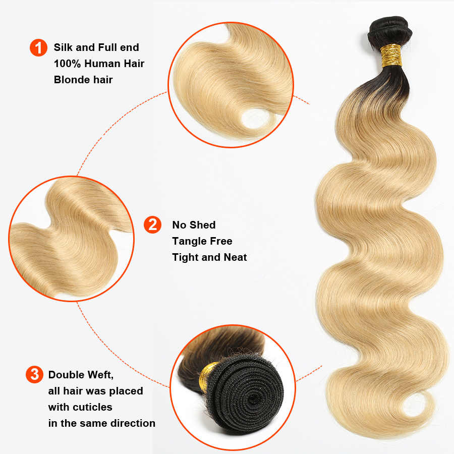 Ombre Body Wave Hair Bundles With Closure Brazilian Human Hair 1b/613 Bundles With Closure Remy Hair Extension Gossip Hair