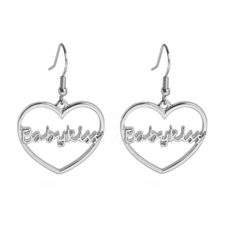 Babykiss hearts love earrings The letter pendant earrings The girl accessories in Drop Earrings from Jewelry Accessories