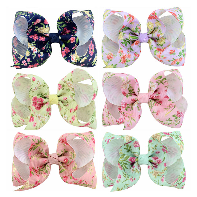 2cc2769a87bf7 US $3.66 20% OFF|6Pcs/lot 4 Inch exquisite Messy Floral Hair Bow Hair Clips  Printed Flowers Alligator Clip Girls Hairpin Kids Hair Accessories772-in ...