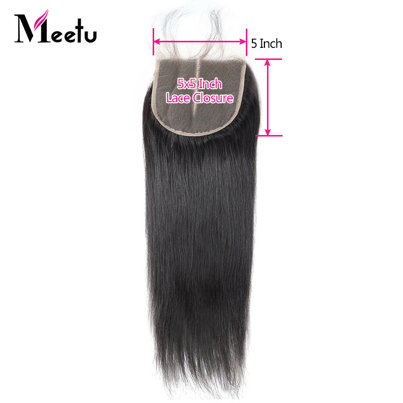 Meetu Malaysian Straight Hair Closure 5X5 Inch Swiss Lace Closure Baby Hair Natural Color Non Remy Human Hair Closure 1 Piece