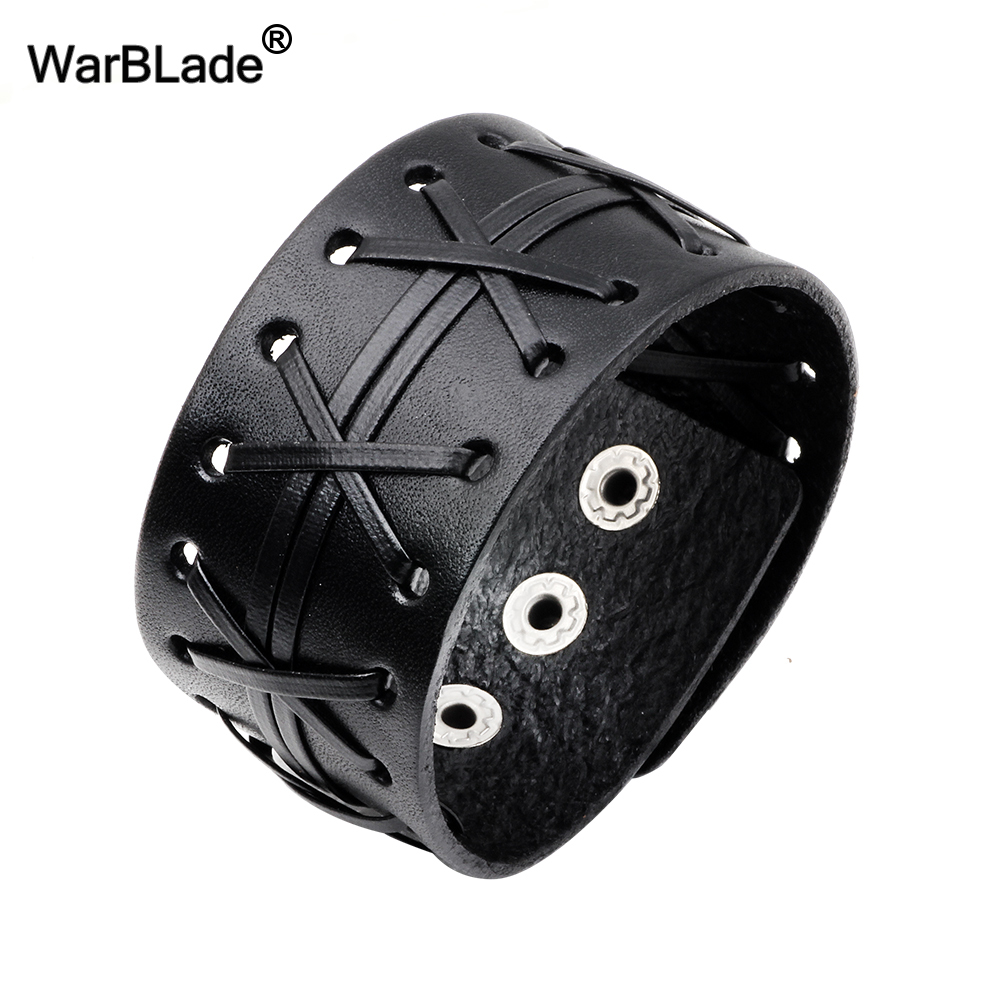 WarBLade 2018 New Fashion Men's Genuine Leather Wide Bracelets Bangles Men Wrap Bracelet Punk Cuff Wristband For Women Jewelry