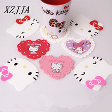 Hello Kitty Silicone Anti Slip Cup Mat kitchen accessories Coaster Novelty Cup Cushion Holder home Decor Drink Placement Mat