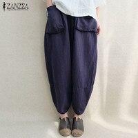 ZANZEA Women Autumn Retro Elastic Waist Pockets Linen Loose Solid Long Capris Hip Hop Harem Pants