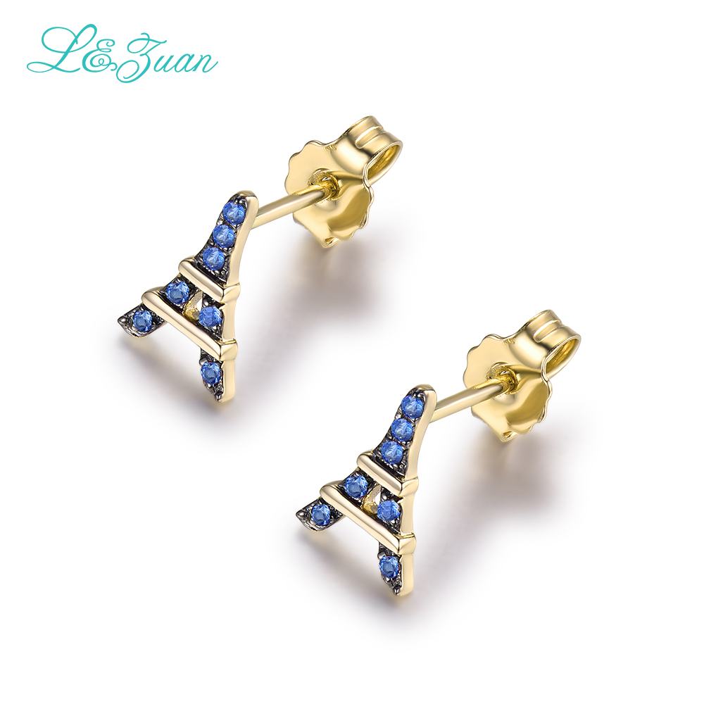 L&zuan Romantic Eiffel Tower 14 K Yellow Gold Natural 0008ct Sapphire Stud  Earrings Fine Jewelry
