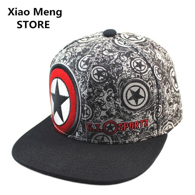 High Quality Summer Cotton Marvel Captain America Baseball Cap Hip Hop Sun  Hats Boy Girl Adjustable Pentagram Snapback Caps M16 4a4730941ff0