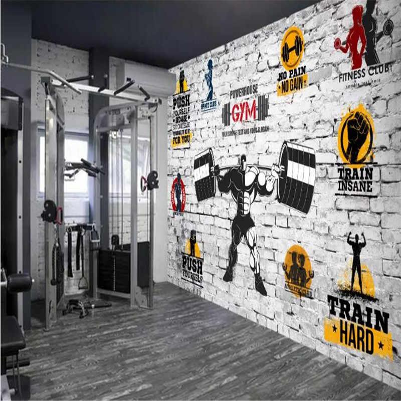 سلس خلفية الصالة الرياضية اليوغا الطوب الجدار المهنية صنع الجداريات خلفية الجملة مخصص ملصق صور الجدار