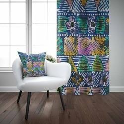 Mais Azul Amarelo Alaranjado Rosa Linhas Autêntico Geo Asteca 3d Impressão Sala de estar Quarto 1 Conjunto Painel Cortina Presente de Combinar fronha