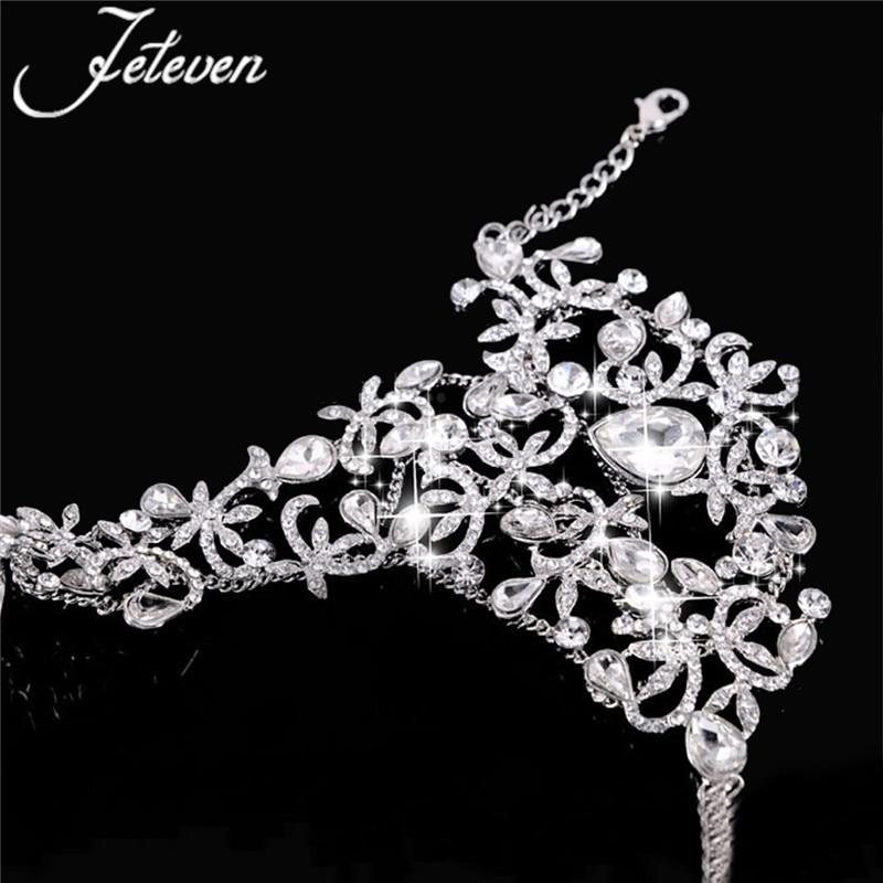 2f2fd45ed2 Aliexpress.com : Buy Clear Crystal Bridal Ring Bracelet Luxury Tear Drop  Rhinetone Chain Link Bangle Finger Ring Wraps Slave Bracelet Wedding Jewelry  from ...