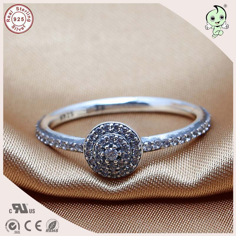 New Arrival Fitting Original Famous Brand Noble CZ Paving 100% 925 Authentic Silver Wedding rings