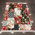 Autre Patchwork Rose Rose noir blanc fleurs géométriques imprimer microfibre anti-dérapant dos lavable décoratif Kilim tapis tapis