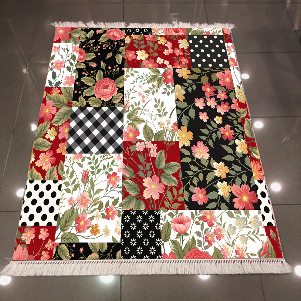 Else Patchwork Pink Rose Black White Geometric Flowers Print Microfiber Anti Slip Back Washable Decorative Kilim Area Rug Carpet