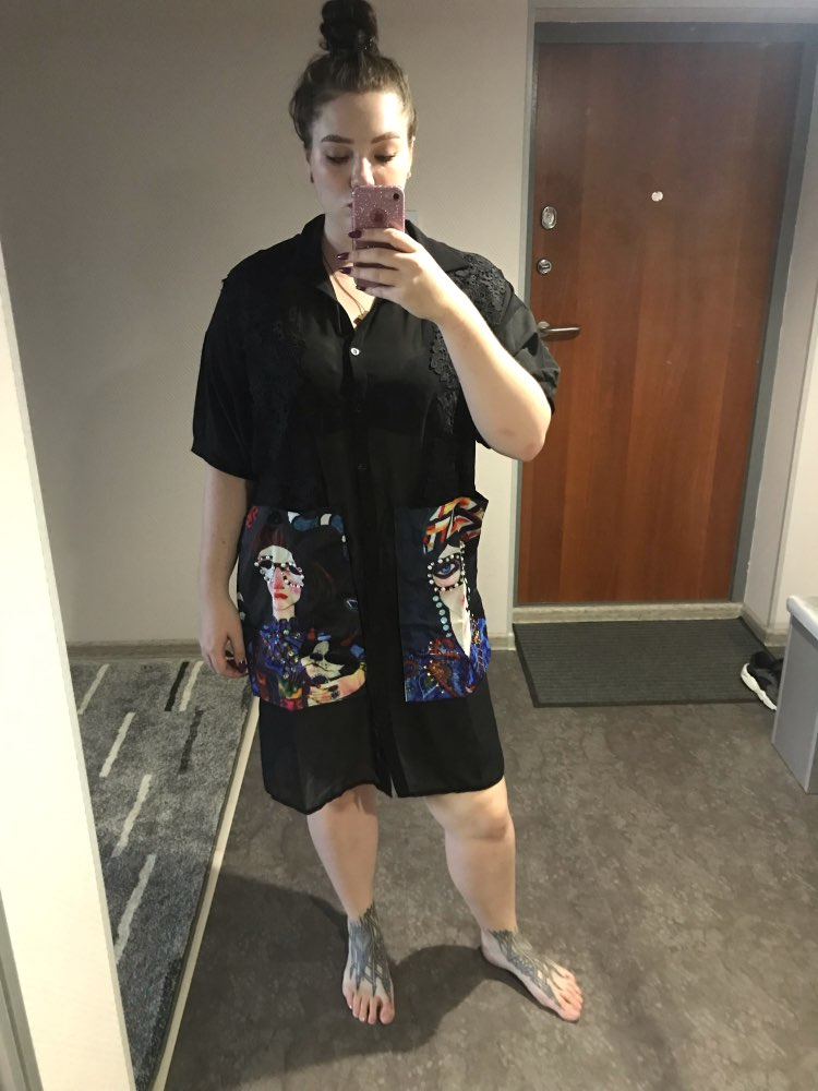 Women Summer Black Casual Chiffon Shirt Dress Cartoon Pockets Half Sleeve Plus Size Female Midi Party Club Dress Robe photo review