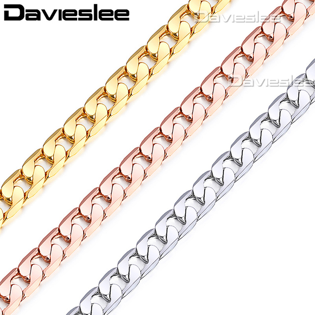 Davieslee Mens Chain Necklace White Rose Gold Filled Cut Curb Link Wholesale Hip Hop Jewelry 5mm LGNM89