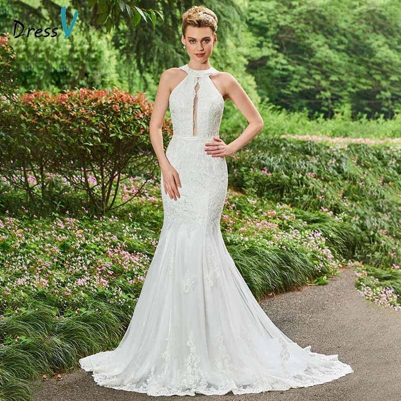 Lace Halter Wedding Gown: Dressv Ivory Halter Neck Lace Trumpet Wedding Dress