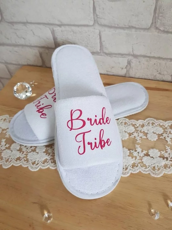 a80c076834139 US $9.49 17% OFF|customize Bride tribe wedding bridesmaid bride spa  slippers day hen night out girl Hangover Crew Bachelorette party favors  gifts-in ...