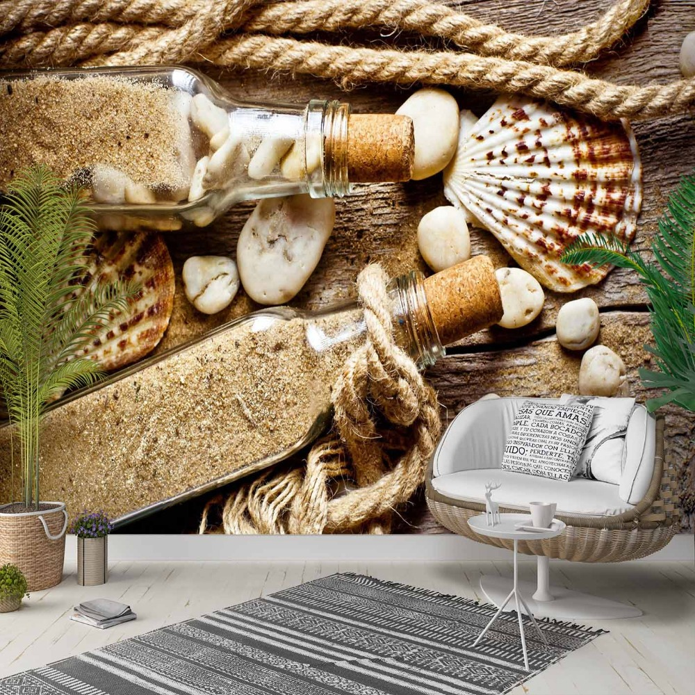 Else Brown Wood Sand Bottle Ropes Sea Shells 3d Photo Cleanable Fabric Mural Home Decor Living Room Bedroom Background Wallpaper