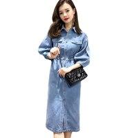 Fashion Women Denim Dress 2018 Spring Summer New Long Casual Women Elegant Jeans Shirt Dresses Plus Size L 5XL Vestidos CM2814