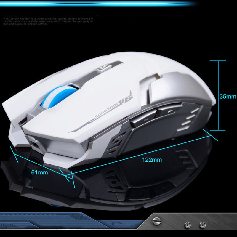 Rechargeable Wireless Gaming Mouse 2.4G 2400DPI 6 Buttons Optical USB Ergonomic Gaming Mouse Comfort Gamer For Computer Desktop
