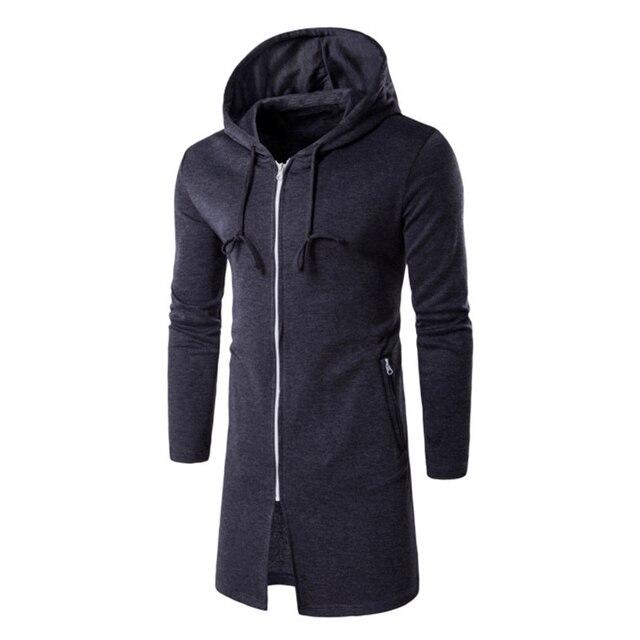 38e37adc64070 Long Hoodies Jacket Mens Autumn Winter Fashion Hooded Sweatshirt Cotton Zip  Up Male Cardigans Coat Basic