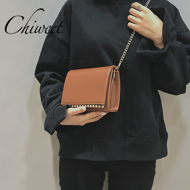 Designer Rivet Mini Bag Women Messenger Bags Pu Leather Handbags Trendy Small Chain Crossbody Vintage