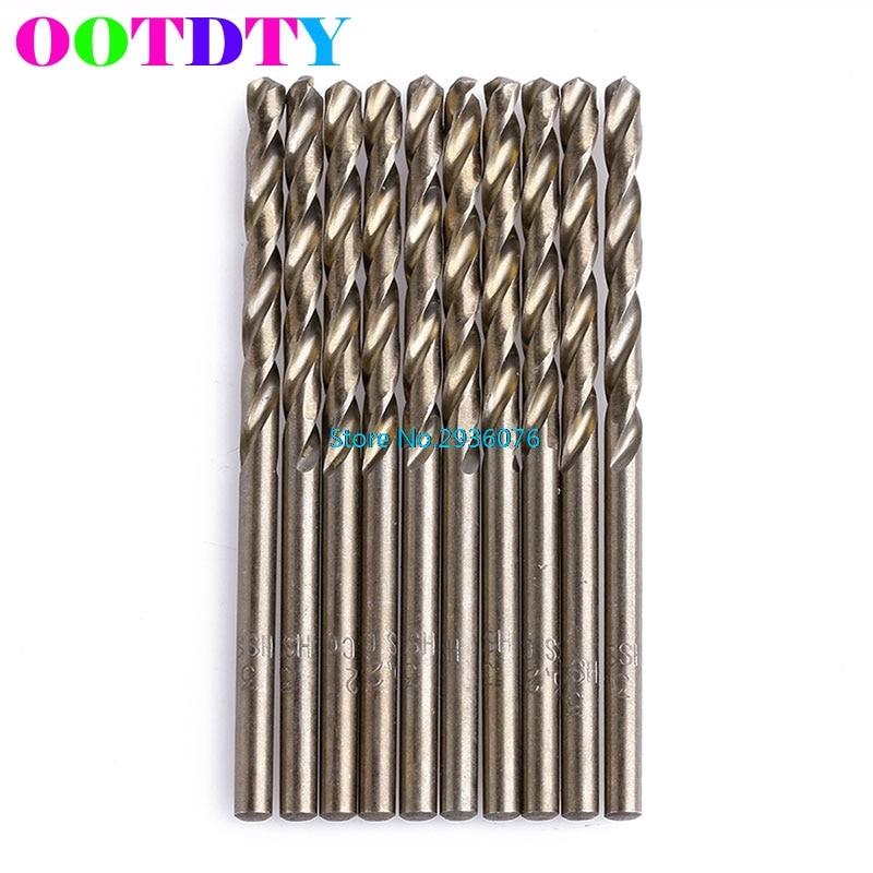 OOTDTY 10Pcs/Set 3.2mm M35 Triangle Shank HSS-Co Cobalt Twist Drill Spiral Drill Bit  APR3_10