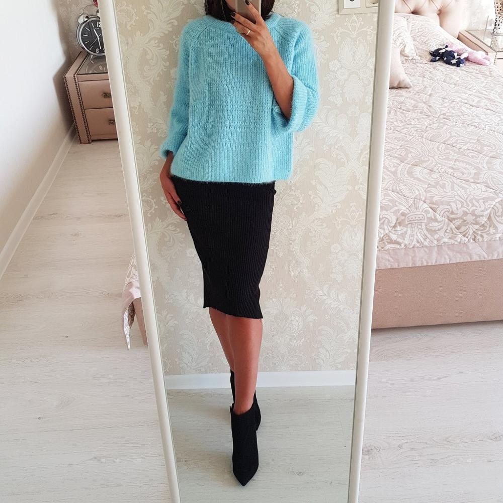 NIJIUDING Casual Autumn Winter Women Sweaters Pullover Loose Knitted Sweater Women Blue Gray Pullover Jumpers