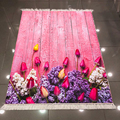 Else Розовые Деревянные тюльпаны розы фиолетовый цветок 3d Рисунок микрофибра печать противоскользящая задняя моющаяся декоративная область...