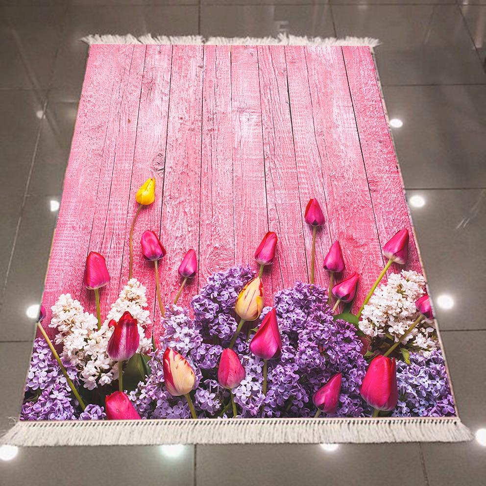 Else Pink Wood Tulips Roses Purple Flower 3d Pattern Microfiber Print Anti Slip Back Washable Decorative Kilim Area Rug Carpet