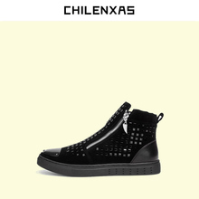 CHILENXAS 2017 New Autumn Winter Casual Leather Genuine Shoes Men Fashion Comfortable Loafers Lace-up Drivers Breathable boots