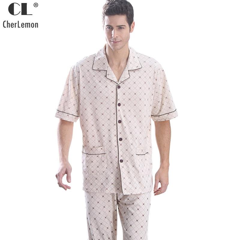 Summer Men Pajama Sets Cotton Pajamas Geometric Short Sleeve Sleepwear Turn-Down Collar Sleep Lounge Casual Pyjamas Plus Size