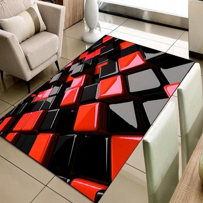 Else Black Red Cubes Gray Boxes Geometric 3d Print Non Slip Microfiber Living Room Decorative Modern Washable Area Rug Mat
