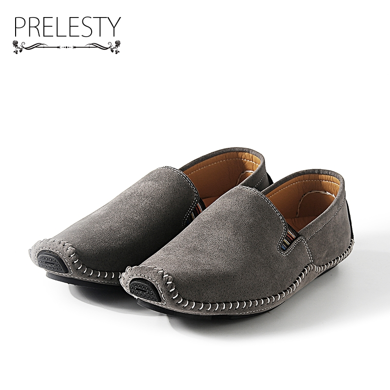 Prelesty Brand Winter Warm Men Real Suede Leather Casual Shoes Breathable Comfort Quality Men Non-Slip Casual Flats Shoes branded men s penny loafes casual men s full grain leather emboss crocodile boat shoes slip on breathable moccasin driving shoes