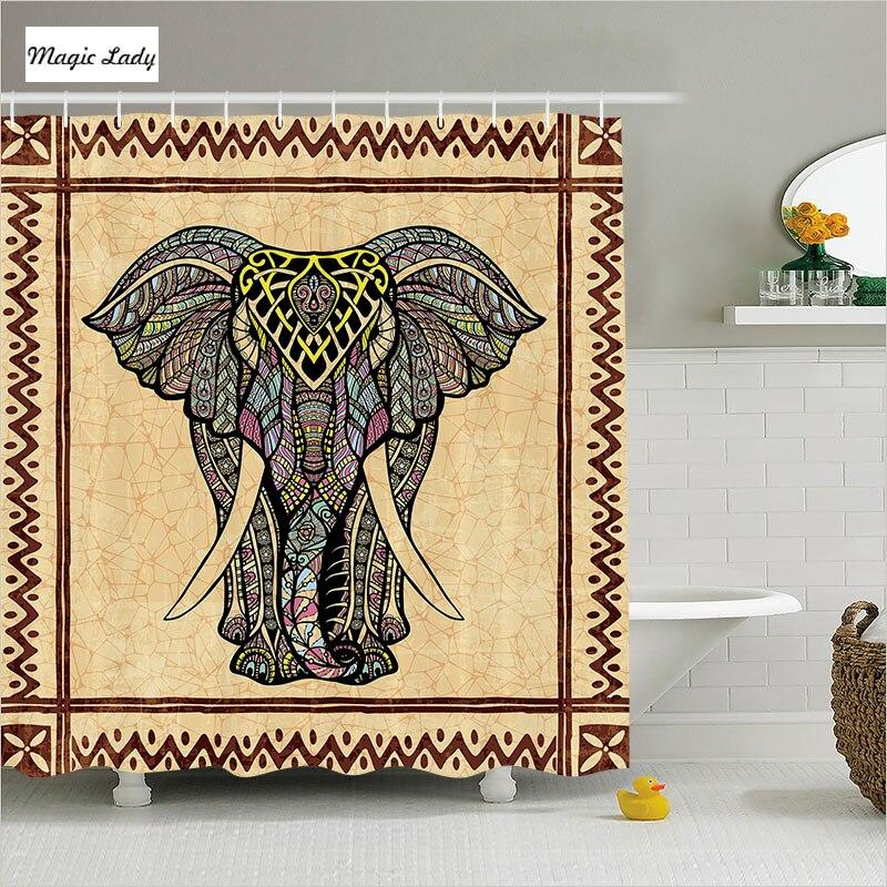 Shower curtain elephant bathroom accessories tribal for Elephant bathroom accessories